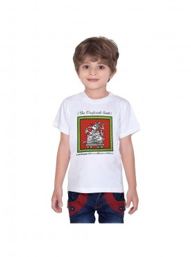 Tantra Kids White Color T-Shirt Crew Neck