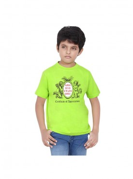 Tantra Kids Flo Green Color T-Shirt Crew Neck