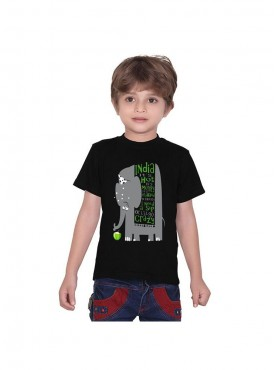 Tantra Kids Black Color T-Shirt Crew Neck