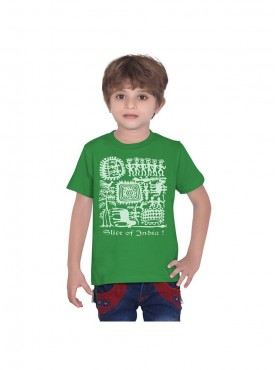Tantra Kids Green Color T-Shirt Crew Neck