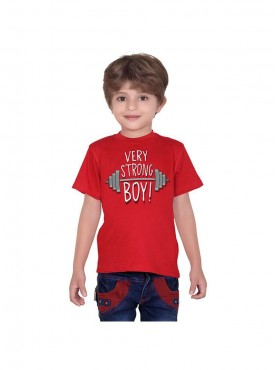 Tantra Kids Red Color T-Shirt Crew Neck