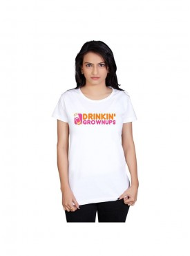 Tantra Women White Drinking Grown Ups Longtees