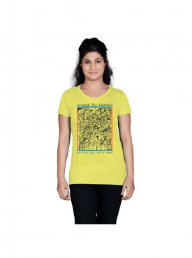 Tantra Women Lime Yellow Come To India Longtees