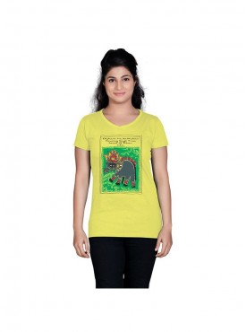 Tantra Women Lime Yellow Bihar Art Longtees