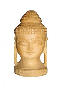 Wooden Buddha Head Artifact