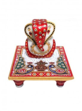Home Decorative Marble Stone Handcrafted Ganesh Chowki