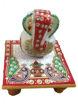 Ganesh Chowki Made Of Marble With Beautiful Design
