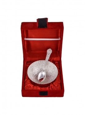 Silver Plated 3.5Inch Flower Bowl Set With Spoon