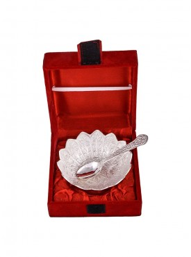 Silver Plated 4Inch Kamal Bowl Set With Spoon
