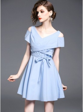 Summer Fashion V-neck Off Shoulder Tying Waist A-line Dress