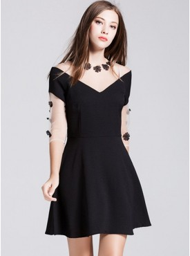 Europe Fashion Gauze Flowers V-neck Slim A-line Dress