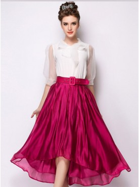 New Vogue High Waist Pure Color Flouncing Long Skirts with Belt