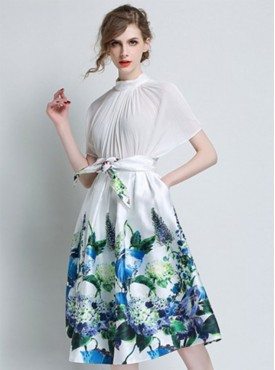 New Arrival Tying High Waist Flowers A-line Mid-length Skirt