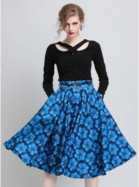 Hot Selling 2 Colors High Waist Flowers Flouncing A-line Skirts