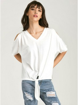 Wholesale Fashion Off Shoulder V-neck Loosen Cotton T-shirt