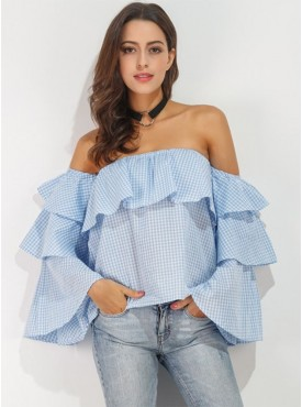 All Match Fashion Boat Neck Layered Flouncing Plaids Blouse