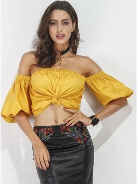 Sexy Europe Boat Neck Puff Sleeve Bare-midriff Short T-shirt