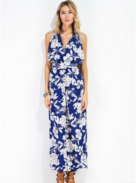 Charming Lady V-neck High Waist Backless Flowers Long Jumpsuit
