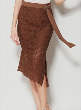 Wholesale Summer 4 Colors Split Lace Midi Skirt