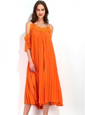 Europe Fashion Lace Straps Off Shoulder Pleated Chiffon Dress