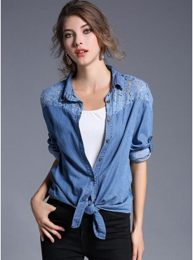 Pretty Fashion Lace Flowers Shoulder Slim Denim Blouse