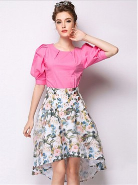 All Match Fashion 2 Colors Mini Flowers Dovetail Flouncing Skirt