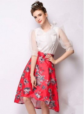 High Quality Europe Summer Flowers High Waist Dovetail Skirts
