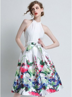 Chic Women Fashion Flowers Tying High Waist Bubble A-line Skirt