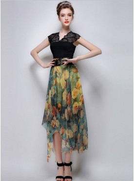 Europe Stylish 2 Colors Flowers High Waist Asymmetric Chiffon Skirt