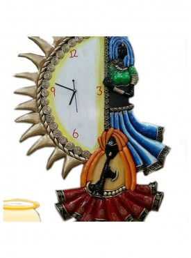 Hand made wooden wall clock in paper mashie work