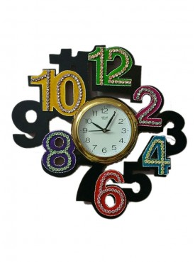 Hand made wooden wall clock with big number design