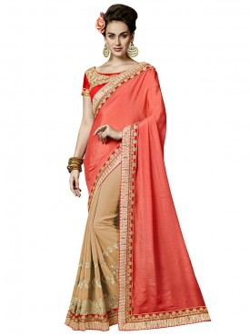 Indian Women Pink Crepe Chiffon Heavy Border Saree