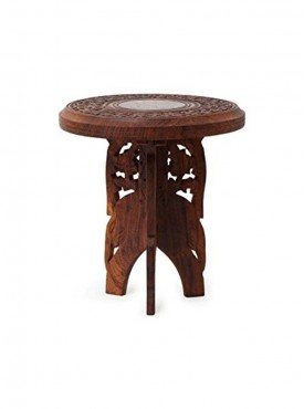 Batra Combo Wooden Foldable Round Shape Table With Money Bank