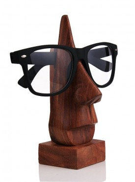 Batra Hand Crafted Wooden Specs Stand 6.5 Inches Brown