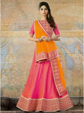 Golden Yellow Pink Color Lehenga