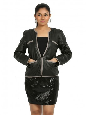 Black Leather Jacket With Grey Piping