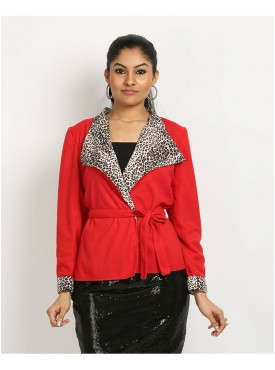 Red Leopard Short Coat