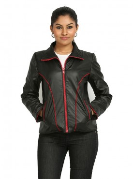 Black Leather Jacket With Red Zip