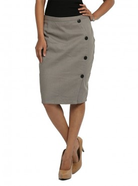 Grey Skirt With Side Bottons