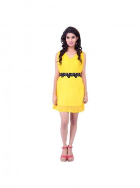 Yellow Georget Dress With Black Belt