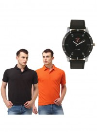 Lime fashion combo of 2 men polo neck t shirts and watch