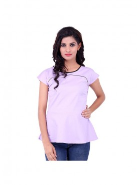 Purple Top With Black Piping