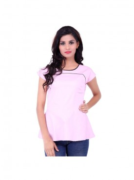 Baby Pink Top With Black Piping