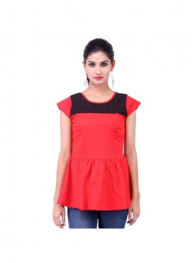Red Lycra Poplin Top With Black Lace