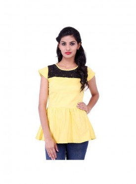 Yellow Lycra Poplin Top With Black Lace