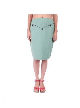 Sea Green Skirt With Black Piping And Pockets