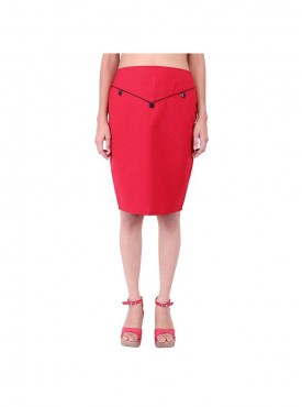 Red Skirt With Black Piping And Pockets