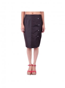 Dark Brown Side Button Skirt