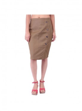 Light Brown Skirt With Side Button