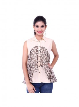 Beige And Leopard Print Top